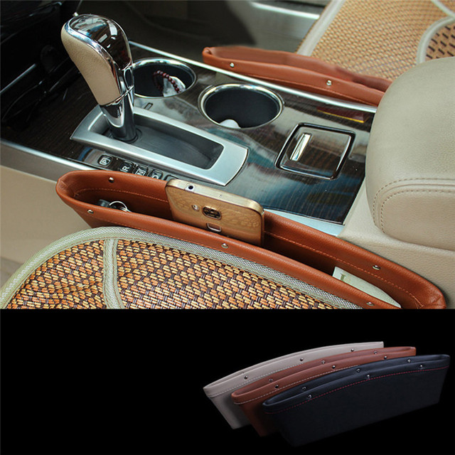 Creative Car Storage Box Leather Auto Seat Gap Pocket Catcher Organizer Leak Proof