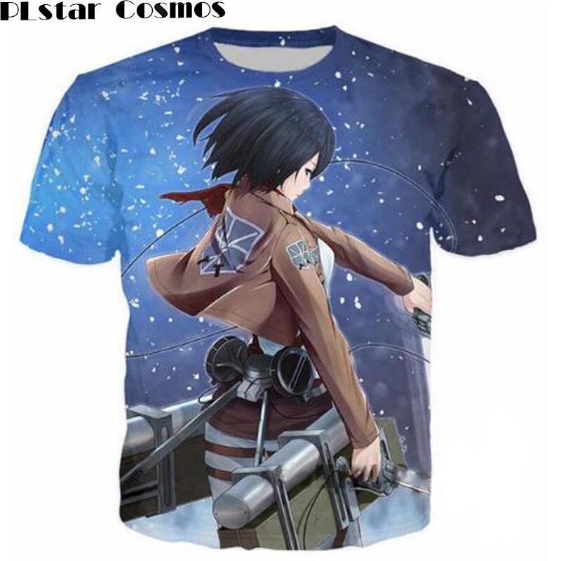 PLstar Cosmos Attack On Titan 3D Print T Shirt Cool Captain Galaxy Men's Tops Unisex Cartoon T-shirt Short Sleeve Hipster Tops