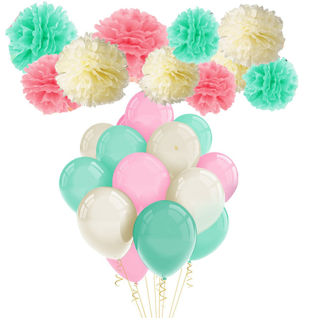 39pcs Pink Mint Green Tissue Pom Poms Paper Flower And Party Balloons For Baby Shower