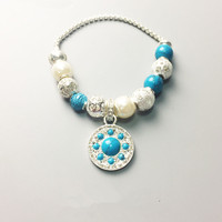 Blue Ornament Beads & Pearls & Starfish Bead Bracelets with Pendant, 925 Sterling Silver Bracelet Karma Jewelry Gift For Women