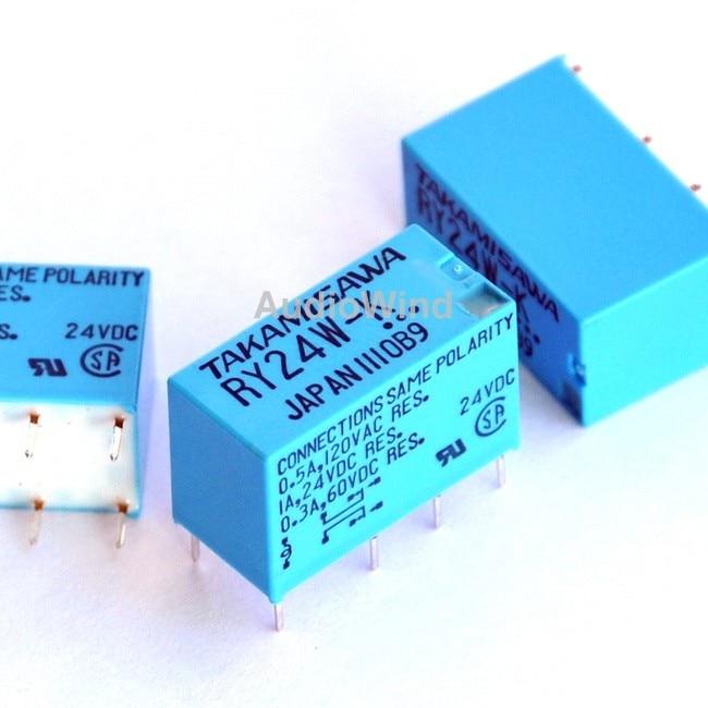 ( 100 Pcs/lot ) TAKAMISAWA RY24W-K 24V DPDT Signal Relay, For Audio