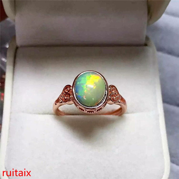 KJJEAXCMY Fine Jewelry 925 Sterling Silver Inlaid With Natural Stone Elliptic Oppa Stone Jewelry Gem. WS