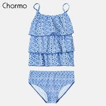 Charmo Baby Girls Bikini Set Two-Pieces Swimsuits Geometric Print Kids Adjustable Strap Swimwear Ruffle Beach Wear