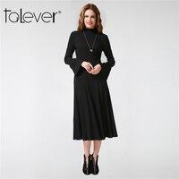 Women Autumn Winter Knitted Dress 2017 Sexy Black Long High Waist Dress Work Wear School Elegant