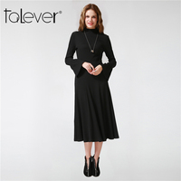 Women Autumn Winter Knitted Dress 2017 Sexy Black Long High Waist Dress Work Wear School Elegant