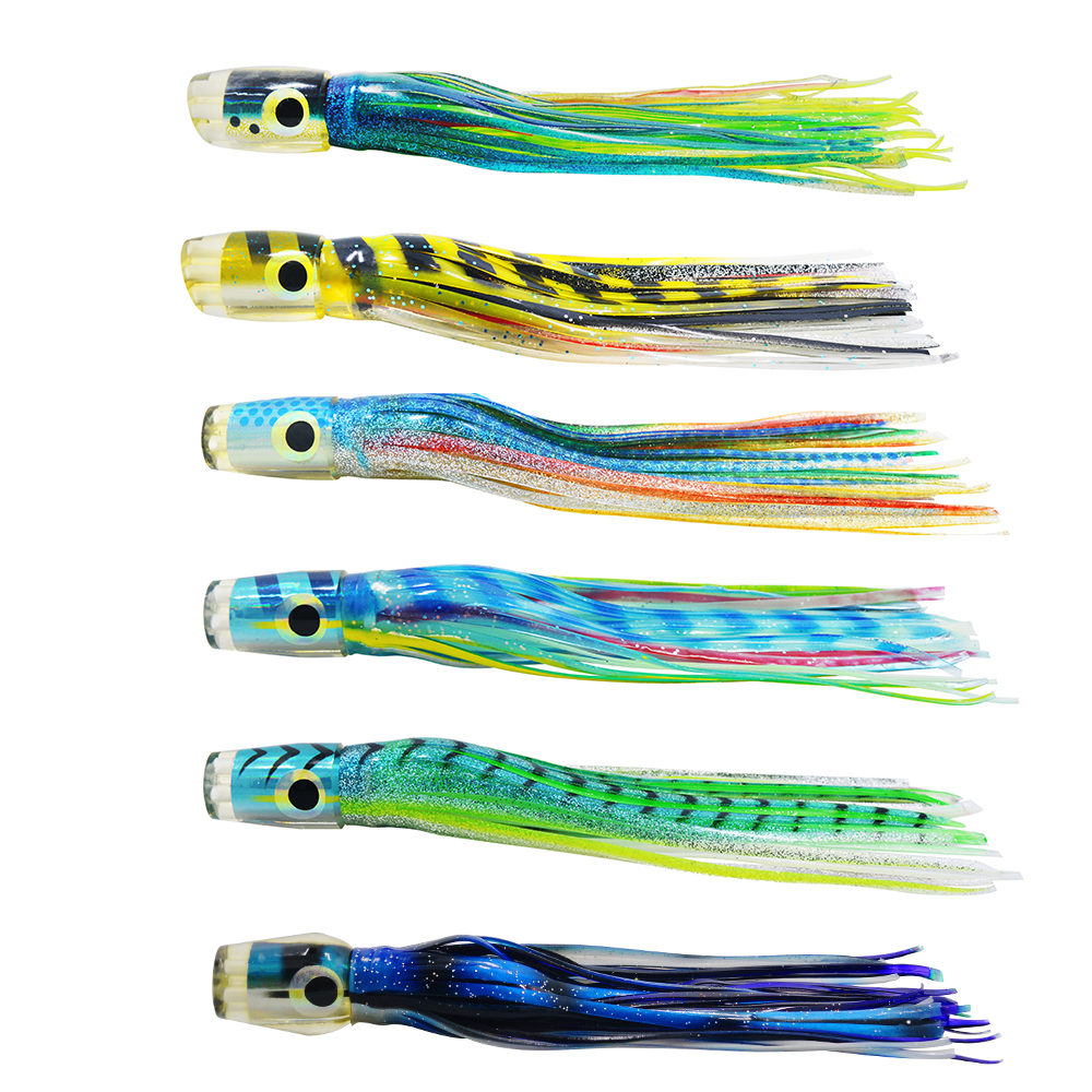 3 pcs Random color Octopus Resin head  Sea Fishing Trolling Lure Fishing Tackle Tuna Lure Fish bait with liquid 9.5 inch 90 g 6 5 inch jig head octopus skirt bait sea tackle tuna lure trolling fishing lure copper head double skirt with line and hook