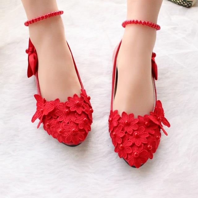 2017 hecho a mano de las mujeres zapatos rojos de la boda zapatos de