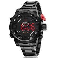 Nova Marca Assista Militar dos homens Relógios de Luxo Da Marca aço Completa Assista Sports Diver Quartz Multi-função Display LED relógios de pulso