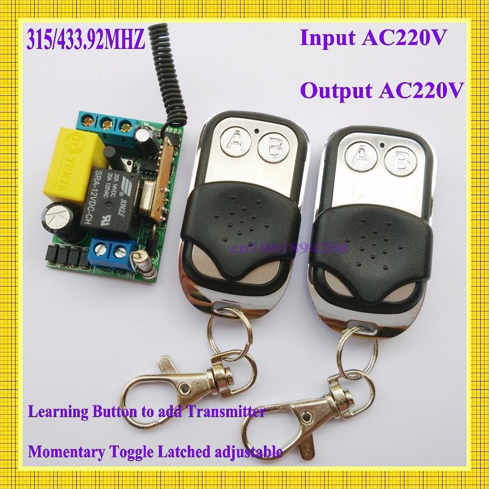 220v RF RC Remote Controller Input AC220V Output AC220V Wireless Switch for Power remote on off  Remote Lighting Remote Switch m3 m4 5a m3 touch rf remote with m4 5a cv receiver led dimmer controller dc5v dc24v input 5a 4ch max 20a output