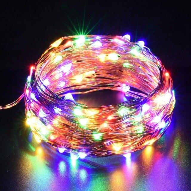 Bande lumineuse Led, guirlande lumineuse de 10m, avec piles AA, DC5V, CR2032, alimenté par USB, pour décoration de mariage, fêtes de noël et de nouvel an