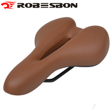ROBESBON Retro Bicycle Saddle Cushion Mountain Bike Sillin Leather Brown Road Cycling Front Seat Fiets Kussens Selle Velo Gel
