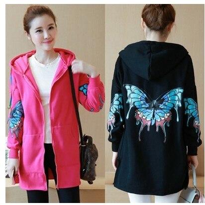 4xl plus big size sweatshirts women spring autumn winter 2017 feminina Thicken cloth thin hooded long fleece jacket female Y0330