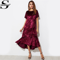 Sheinside Burgundy V Back Ruffle Dip Hem Crushed Sexy Velvet Dress Burgundy Round Neck Short Sleeve