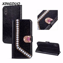 XINGDUO Case Cover for IPhone X XS XR 6 6s 7 8 Plus Luxury Pearl Flip PU Leather Phone Case Silicon Protective Shell Cover стоимость