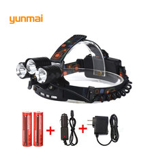 5 Led Red Laser 8000Lm XML T6+2Q5+2LED Headlight Headlamp Head Lamp Torch+2x18650 Battery+EU/US/UK/AU charger fishing Light(China)