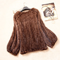 Ladies' Real Genuine Knitted Mink Fur Coat Jacket O-Neck Winter Women Fur Pullover Short Outerwear Coats 4XL 5XL VK1365