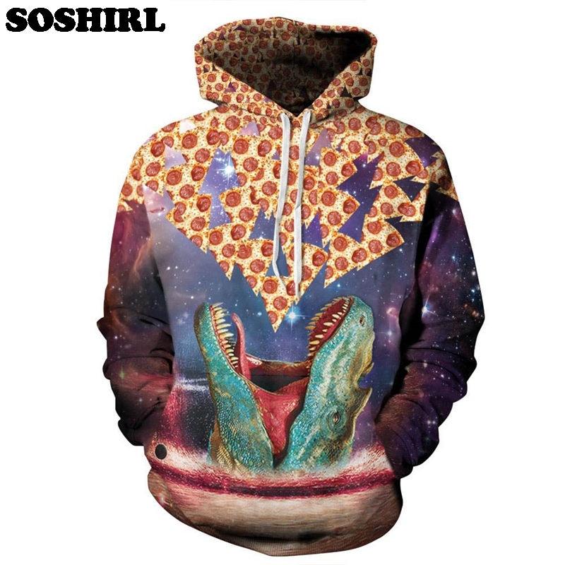 SOSHIRL Shark Loves Pizza  Hoodies 3D Food Hooded Funny Unisex Hooded Hoodies Galaxy Pullover Tops Hoody US Size Dropship hoodie
