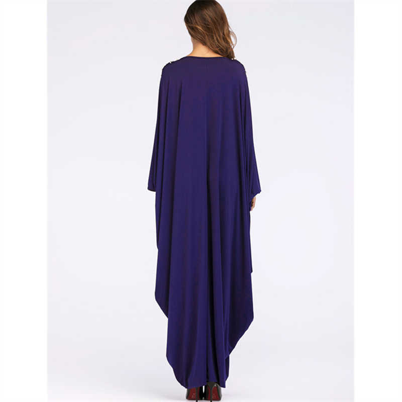 ... Oversize Dark Blue Pearl Cloak Sleeve Caftan Maxi Dress Plus Size Women  Clothes 2019 Kaftan Robe b2e999ea7fcf