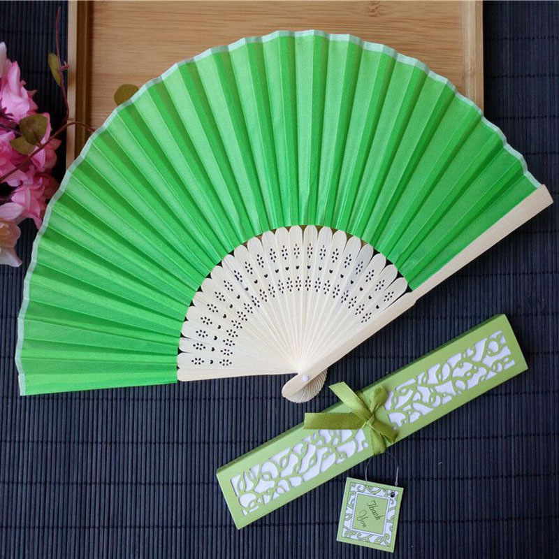 100pcs lot Personalized Luxurious Silk Fold hand Fan in Elegant Laser Cut Gift Box Party Favors
