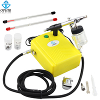 OPHIR 0.3mm Dual Action Airbrush Kit with Mini Air Compressor for Cake Decorating Art Hobby Airbrushing Paint Gun/Air Brush