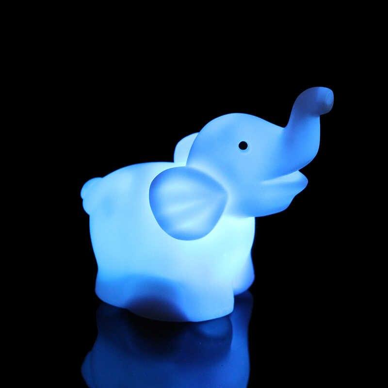 PVC Elefante Mudando A Cor Da Lâmpada LED Night Light 7 Com Bateria Candeeiro De Mesa Quarto do Bebê Decoração Do Partido