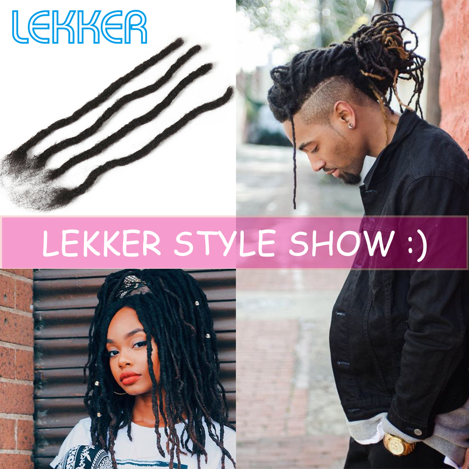 Lekker Braiding Afro Kinky Human Hair Braids 100% Hand Made Dread Lock Indian Human Hair Bundles 12-20inch 20/30 Strands One Bag