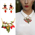 les nereides Among the small strawberry red grapes Necklace Earrings Set female long paragraph pastoral lovely wind   bubble
