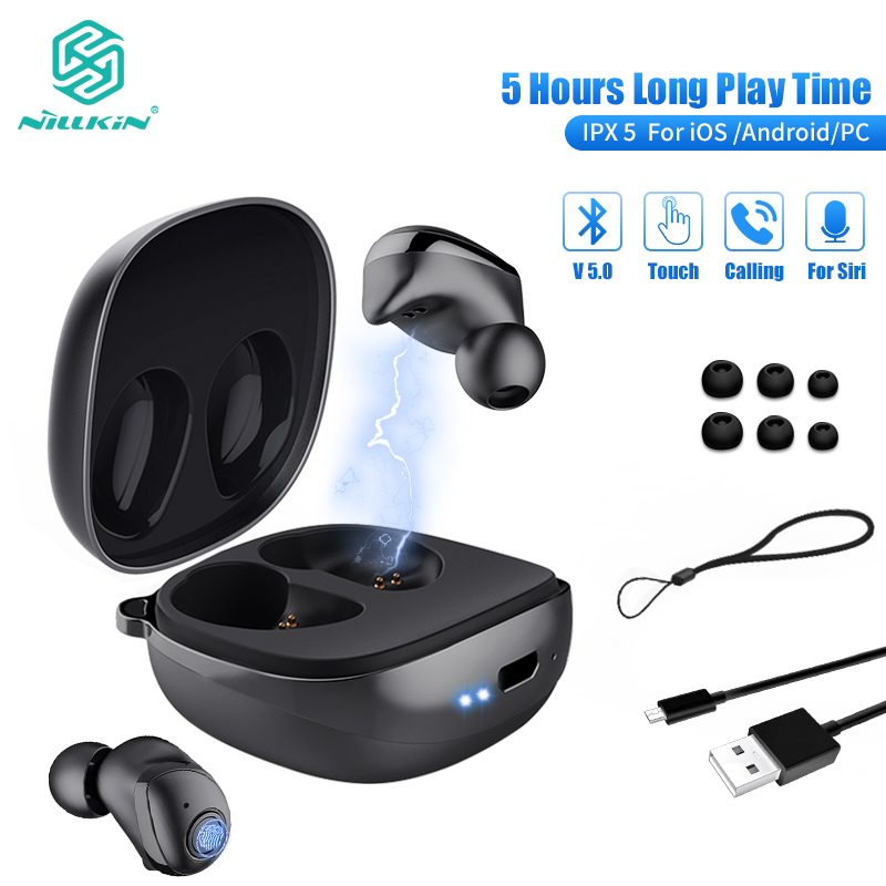 NILLKIN True Wireless Earbuds TWS Bluetooth 5.0 earphone IPX5 Sport Headset headphone stereo Auto Pair 5 Hour Play Charging CaseNILLKIN True Wireless Earbuds TWS Bluetooth 5.0 earphone IPX5 Sport Headset headphone stereo Auto Pair 5 Hour Play Charging Case