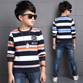 High Quality Cute Baby Boys Long Sleeve Striped Cotton T shirts Children Blue Green Orange Color T-shirt Kids Infant Clothing