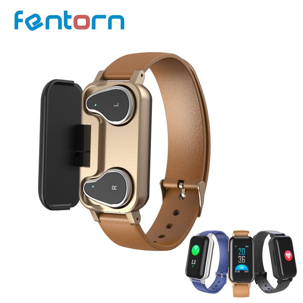 Fentorn Smart Dual Headphone T89 Heart Rate Sport Smart Watch Men Bluetooth Music earphone Waterproof Smartwatch