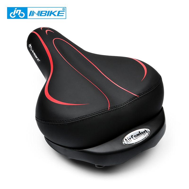 INBIKE Inflatable Bicycle Saddles Thicken Wide Cushion Breathable MTB Bike Seat Pad Shockproof Soft Sponge Cycling Saddle Parts