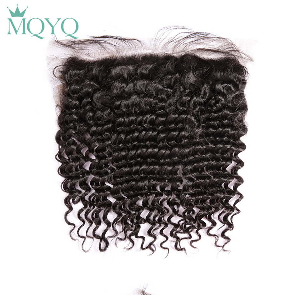 MQYQ Brazilian Deep Wave Lace Frontal Closure Pre Plucked With Baby Hair 13x4 100 Human Closure