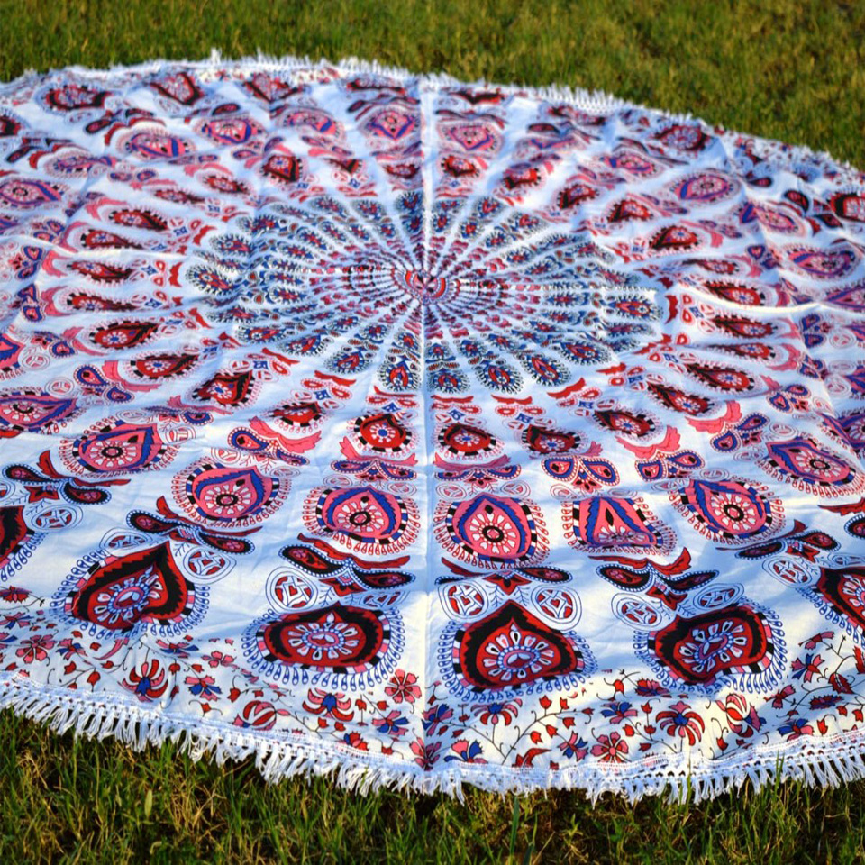 Bohemian Pink Indian Tapestry Hippie Wall Hanging Mandala Home Decor 1.8m 72inchs round Blanket