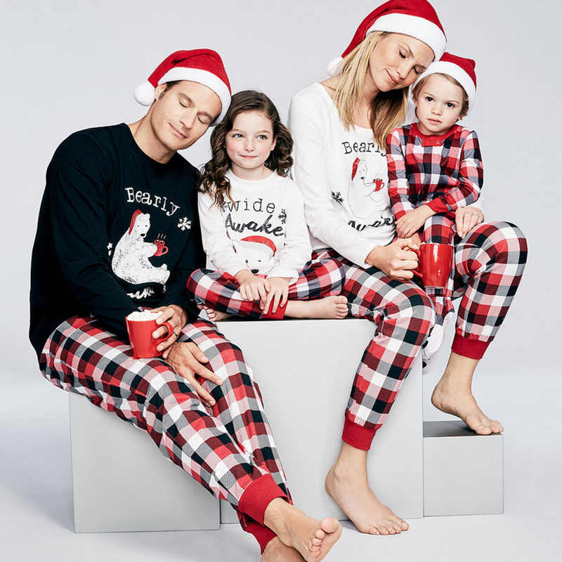 4c42ebef57d1 Family Matching Outfits Christmas Clothes Pajamas Set Father Women Kids son  Daughter Deer Sleepwear Nightwear Xmas