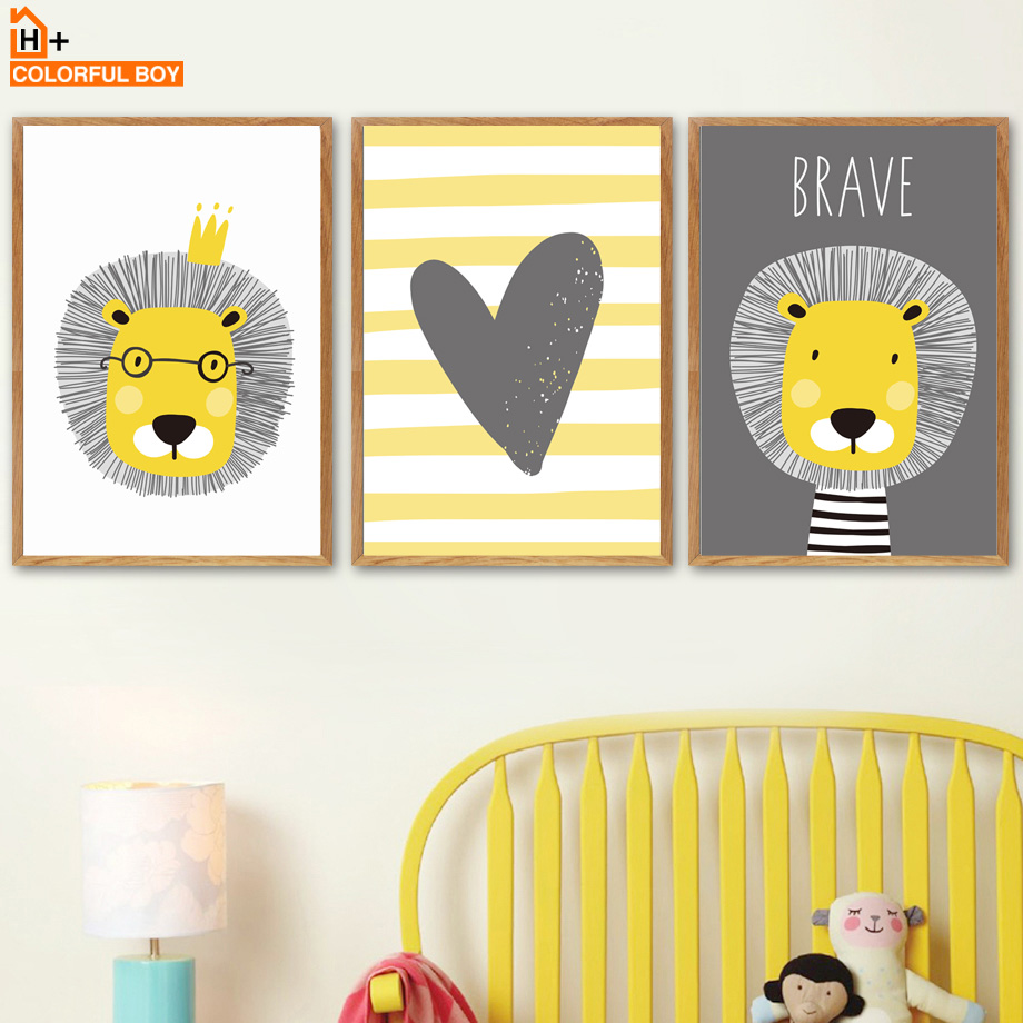 COLORFULBOY Lion Crown Heart Quote Wall Art Canvas Painting Nordic ...