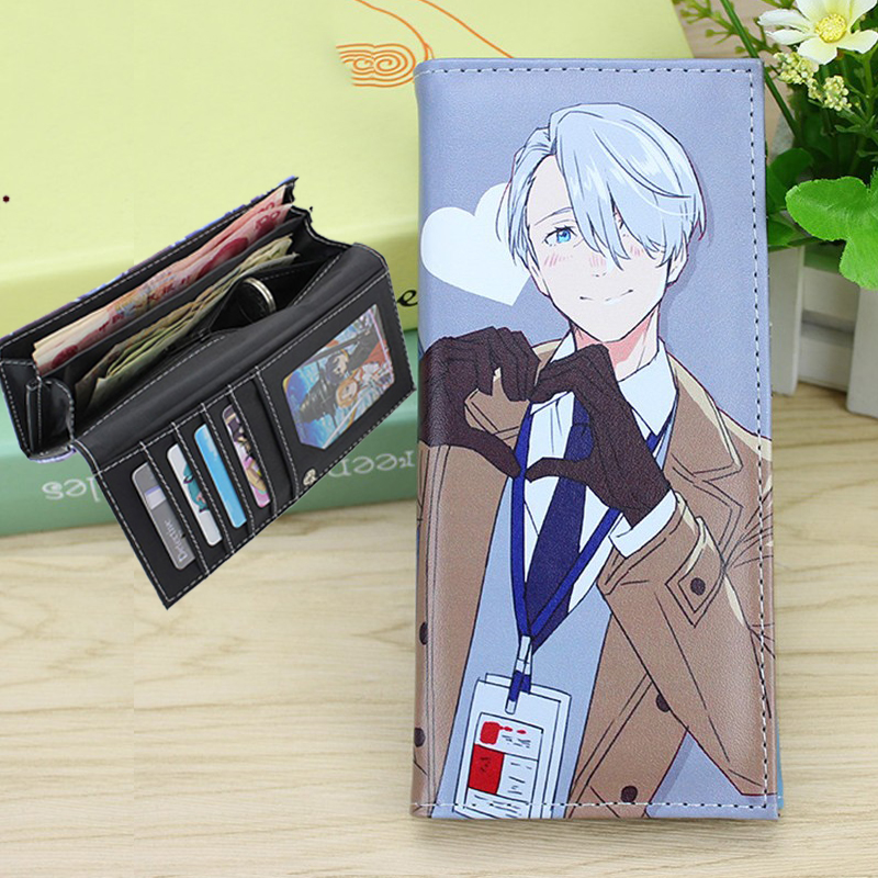Yuri On Ice Wallet Figure Doll Accessories Long Style Wallets Purse with Multi Keychain Card Holders Valentine Day Gift hot yuri on ice unisex name id business card holder wallets plisetsky yuri 28 bank credit card case holders card holder purse