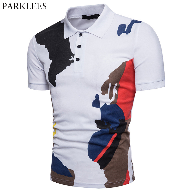 2018 Summer New Cotton   Polo   Shirt Men Camouflage Print Slim Short Sleeve   Polo   Homme Casual Breathable Brand   Polo   Shirts Male Top