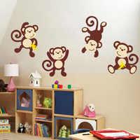 Cute Cartoon Animal Baby Monkeys Wall Sticker Vinyl Jungle Forest Animals Decal DIY Interesting Wall Art For Kid Room Home Decor