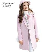 Kadın Uzun Yün Palto Karışımları 2017 Yeni Sonbahar Kış Moda Casual Bayanlar Yün Coat Ceketler Ince Pembe Trençkot CXM308