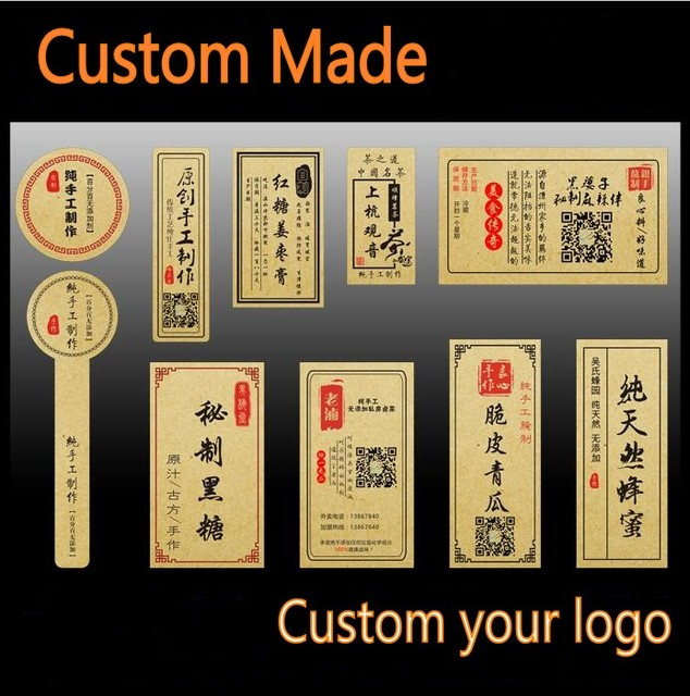 500 custom made stickers labels own logo text paper stickers label print kraft paper sticker printing