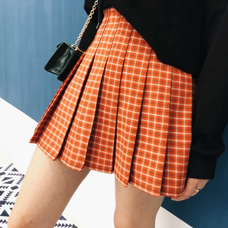 22cc87964861 2019 New Preppy Style Summer Skirt Women High Waist Orange Plaid Pleated  Skirts Shorts Vintage Plus