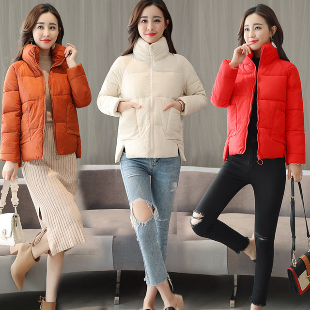 Cotton women short section thick Korean version of the bread service winter down cotton clothing wild ladies cotton jacket