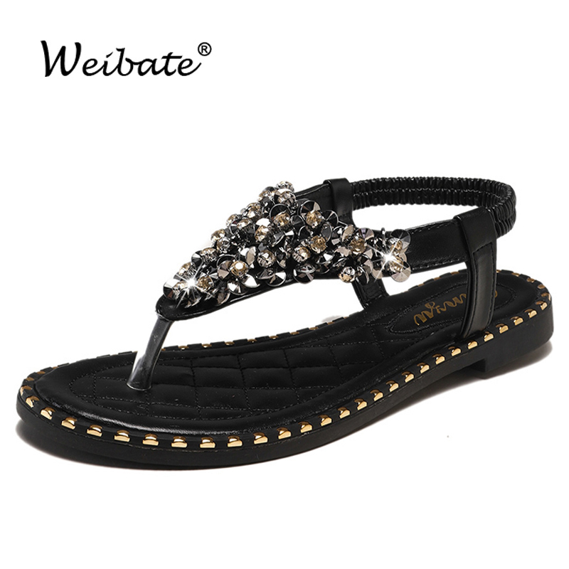 Women/'s Rhinestone Accent T-Strap Thong Flat Jelly Sandals Jelli-26 Jubilee