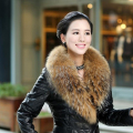 Winter 100% Real Natural Raccoon Fur Collar & Womens Scarfs Fashion Coat Sweater Scarves Collar Luxury Raccoon Fur Neck Cap L#34