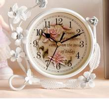 Beauty European Style Vintage Mute Table Desk Clock Iron Creative Home Decoration With Flower Vine Best Gift For Children Girl(China)