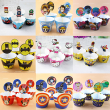 1 Pack Kitty Cupcake Toppers Mickey Minnie Cake Wrappers Birthday Party Pokemon Kids Favors Trolls Decora Baby Shower Supplies