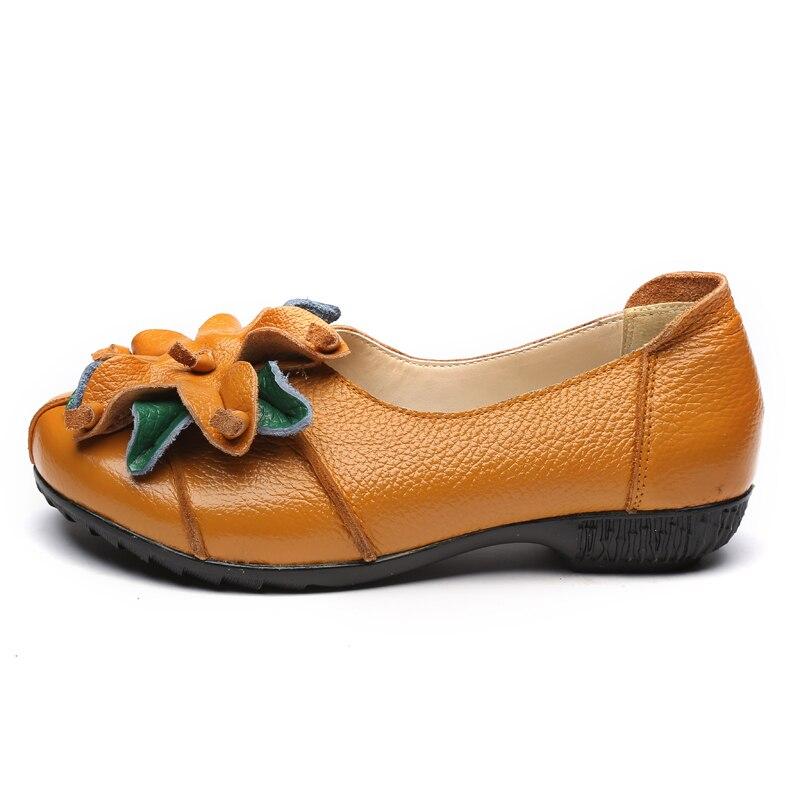 Femme Chaussures Style Beckywalk National Véritable Main Noir La Cuir D'été Wsh2941 Occasionnels jaune Plat Fleurs Ballet Femmes Rétro vert rouge À Appartements En xrXwTY0qX