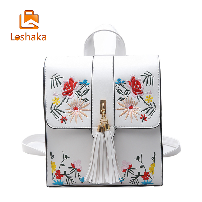 Loshaka High Quality PU Embroidery Backpack School Bags For Teenagers Casual Black Travel Backpack Women Mochila