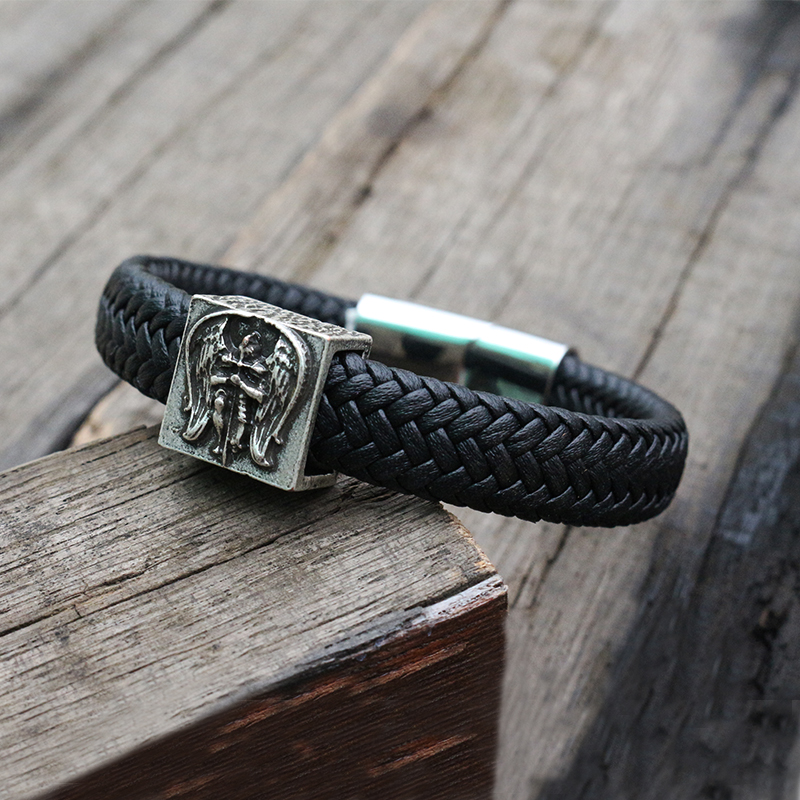 Punk men Black Braided Leather Cuff Stainless Steel Magnetic Clasp 100% Genuine Leather Bangles Archangel St.Michael Bracelet