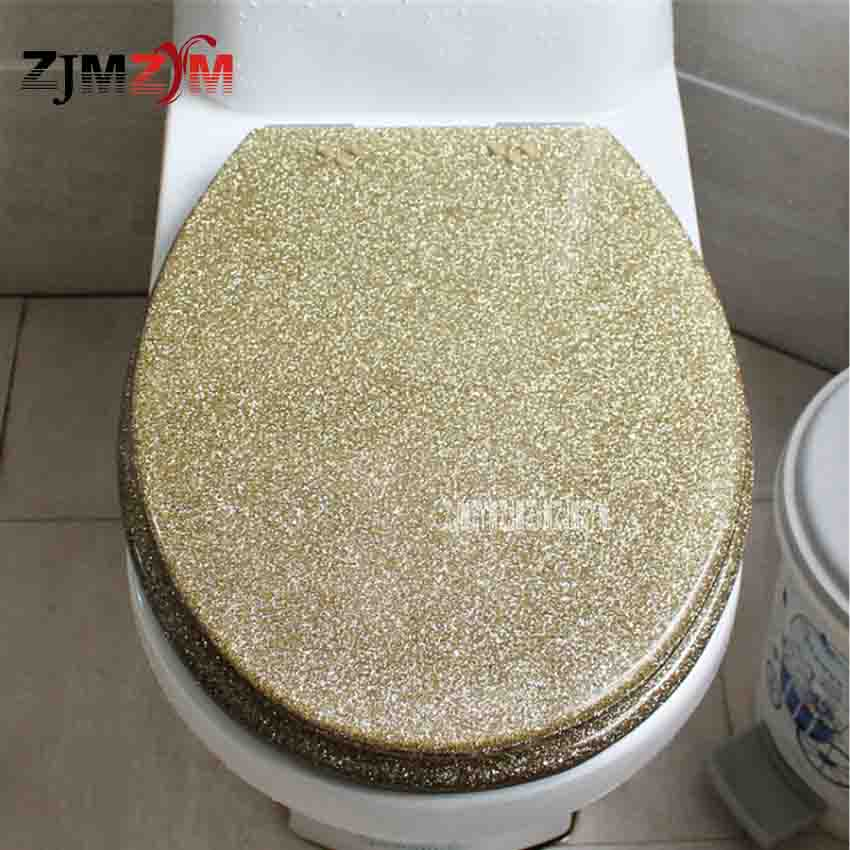 New High-grade Beautiful Twinkling Golden Resin Toilet Seat Cover Slow Down Stainless Steel Hinge U/V/O Universal Toilet Cover